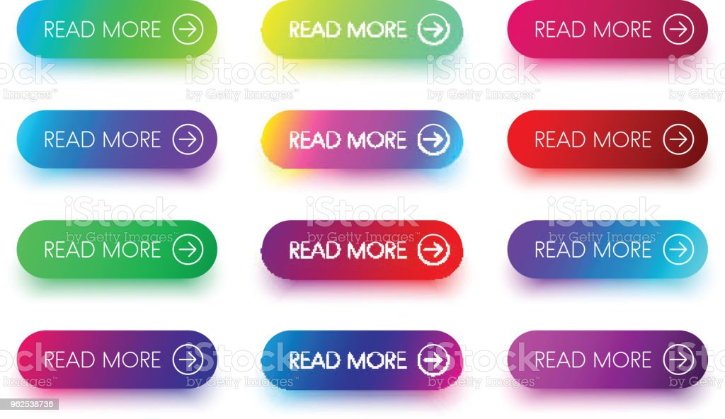 Colorful read more icons isolated on white. - Royalty-free Arrow Symbol stock vector