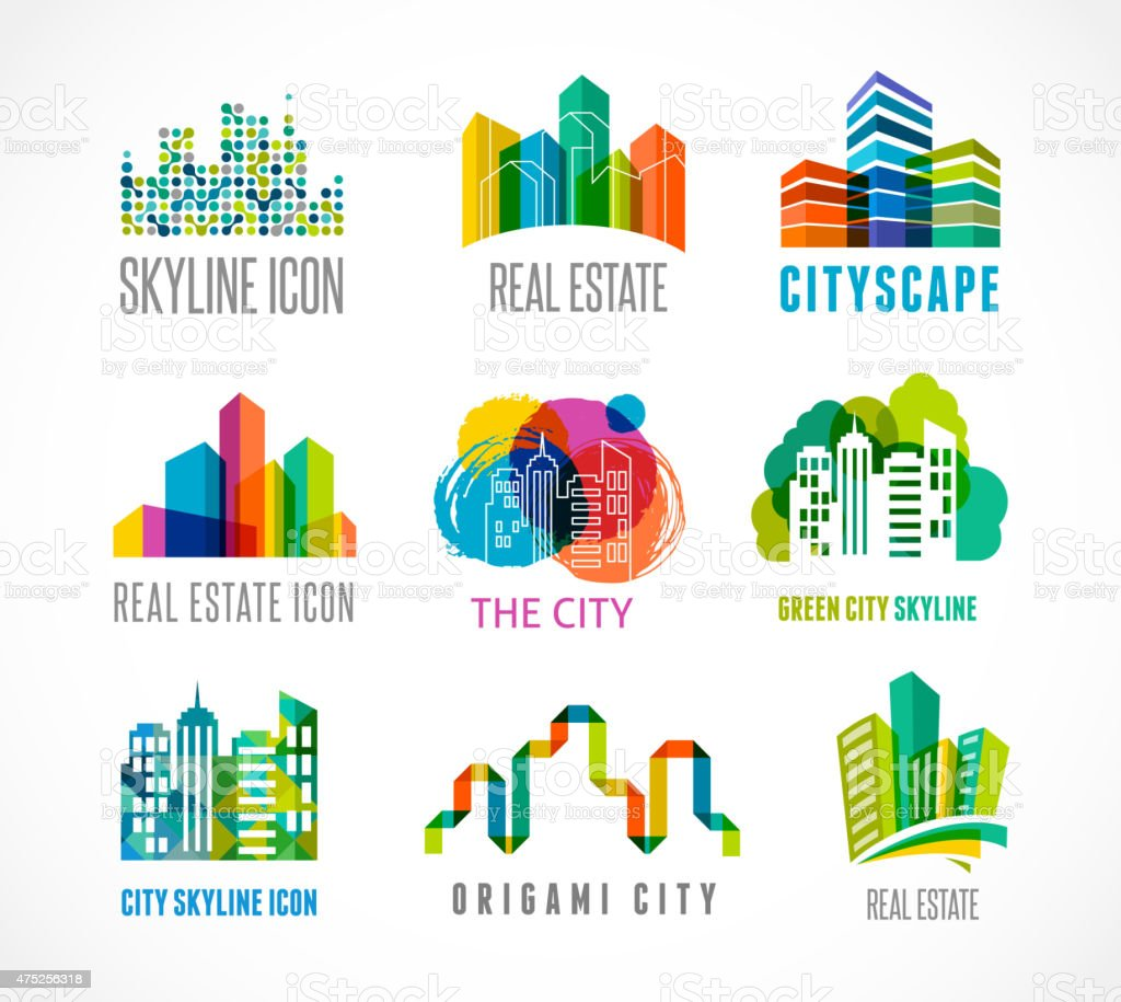 Colorful real estate, city and skyline icons vector art illustration