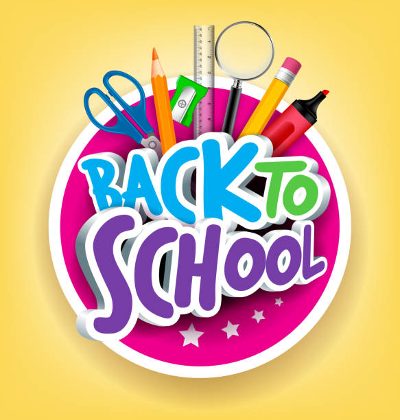 colorful realistic 3d back to school title texts - back to school stock illustrations, clip art, cartoons, & icons