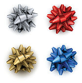 Colorful realistic satin bows set for gift isolated on white. Vector illustration.