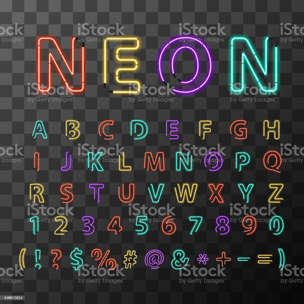 Colorful realistic neon letters, full latin alphabet vector art illustration