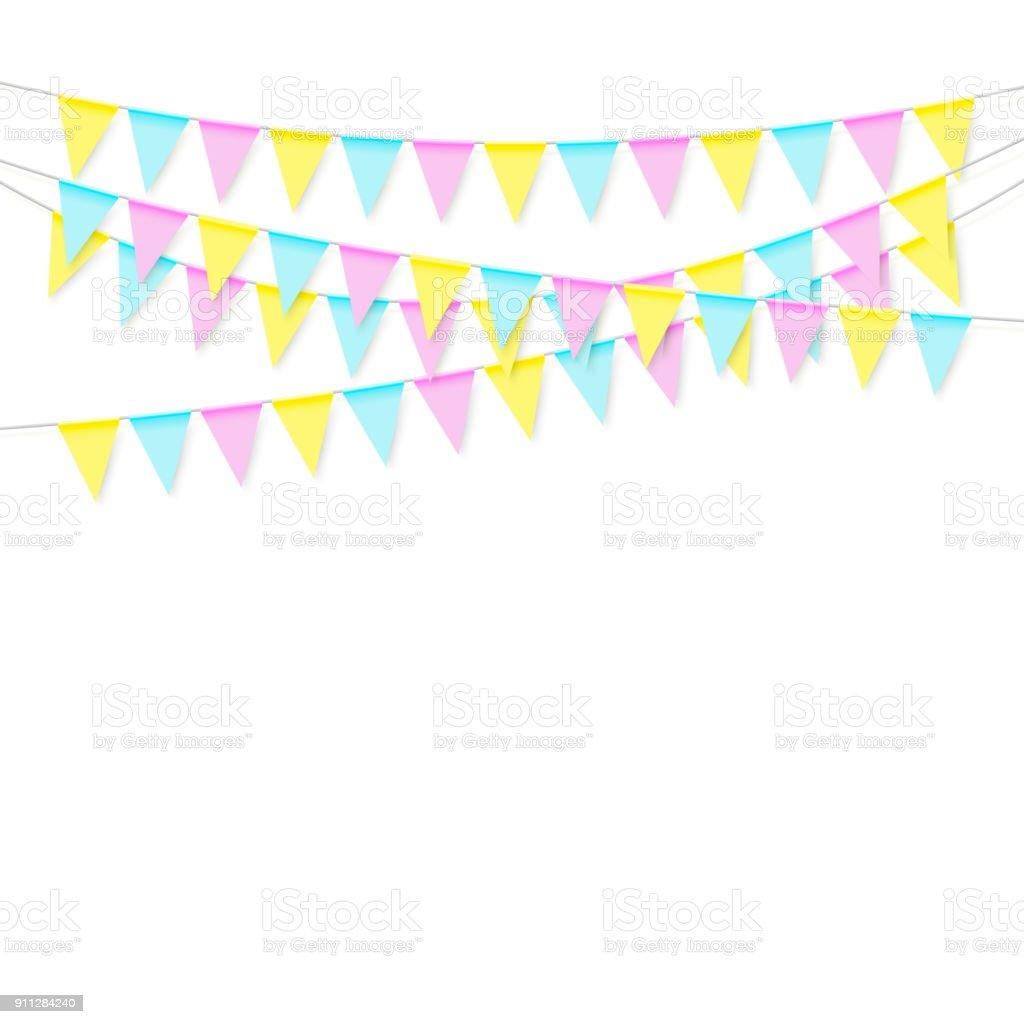 Guirnalda bandera colorido suave realista colorido con sombra. Celebrar la bandera, banderas de partido. Ilustración de vectores aislado sobre fondo blanco - ilustración de arte vectorial