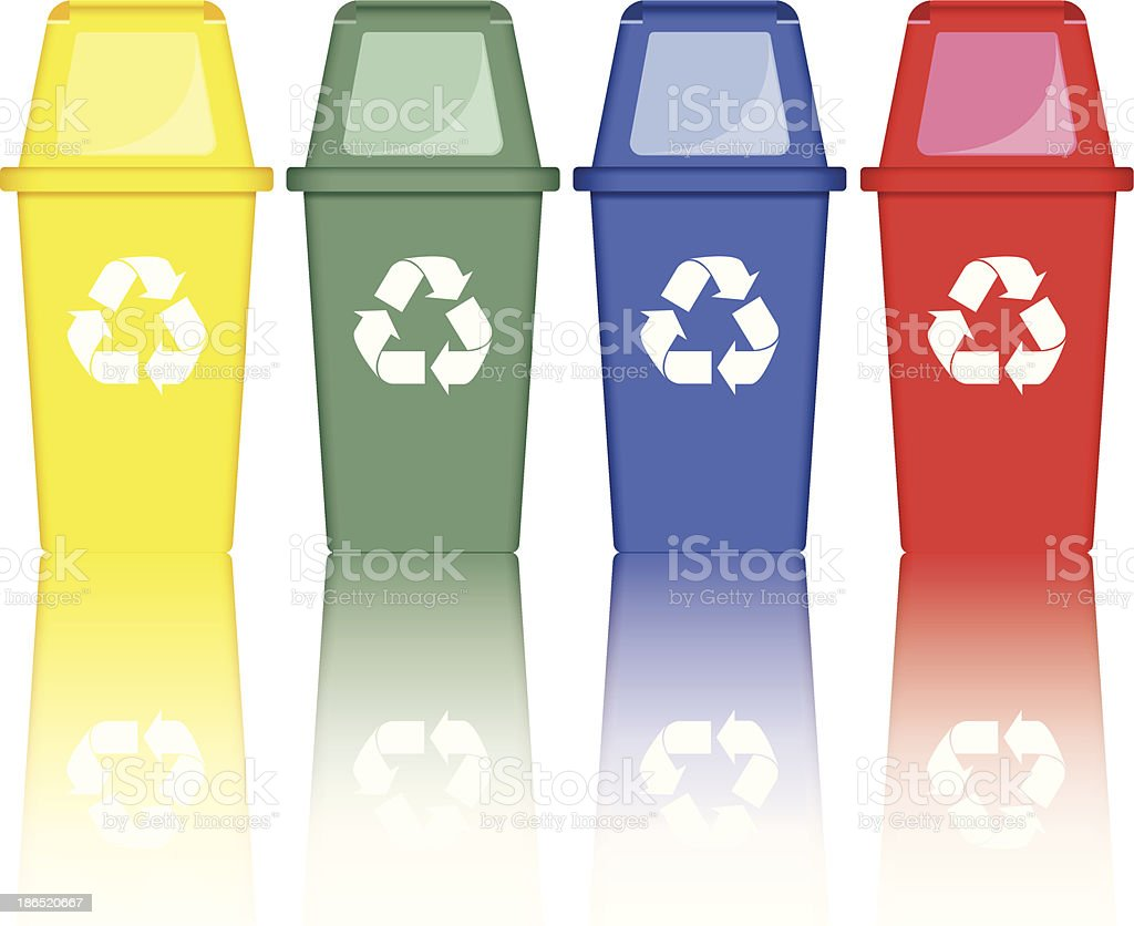 Colorful recycle bins royalty-free colorful recycle bins stock vector art & more images of blue