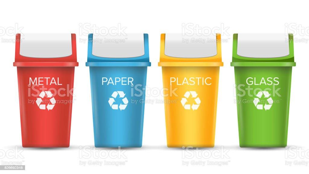 Recycling Mülleimer bunte recycling papierkorb mülleimer vektor reihe realistisch
