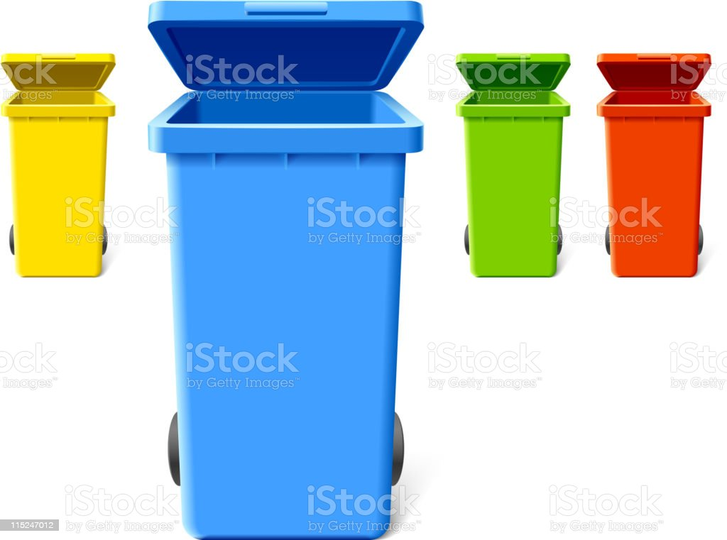Colorful recycling bins vector art illustration