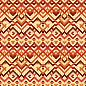 Colorful red and orange ethnic geometric mosaic seamless pattern, vector