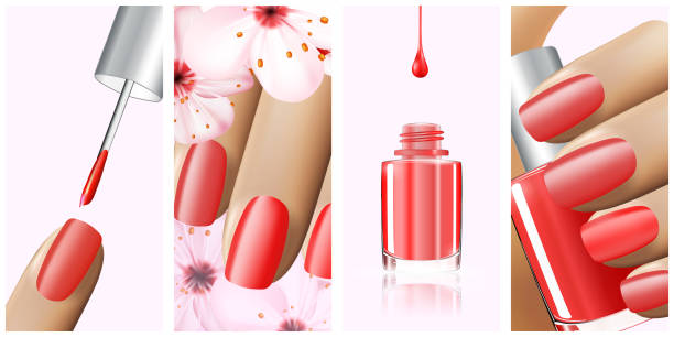 Colorful red collection of nail designs for summer and spring. Vector 3d illustration. Nailpolish lacquer ads, nail polish splatter on white background. Manicure vogue ads for design Colorful red collection of nail designs for summer and spring. Vector 3d illustration. Nailpolish lacquer ads, nail polish splatter on white background. Manicure vogue ads for design. white nail polish stock illustrations