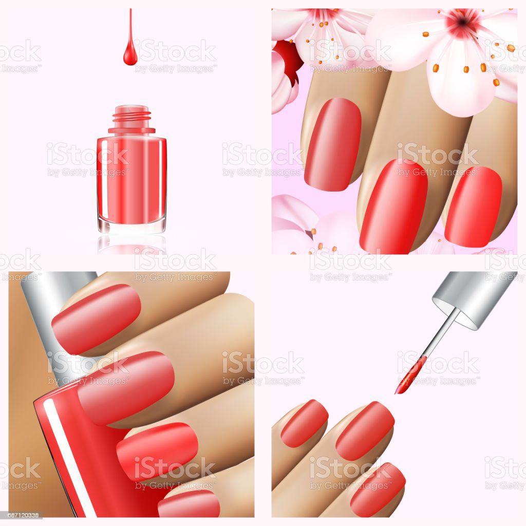 Colorful Red Collection Of Nail Designs For Summer And Spring Vector