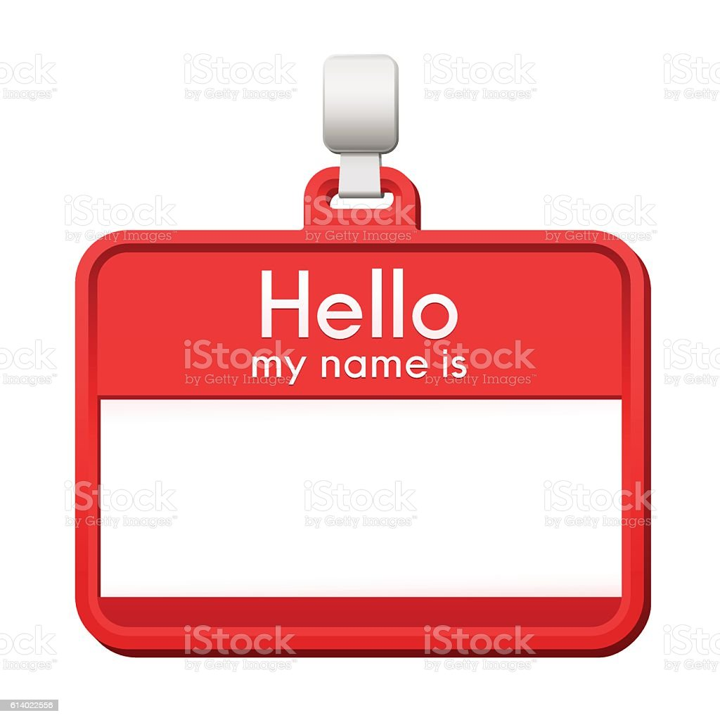 colorful red name tag with blank copy space こんにちはのベクター