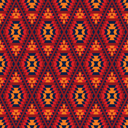 Colorful red yellow blue aztec geometric ethnic seamless pattern, vector
