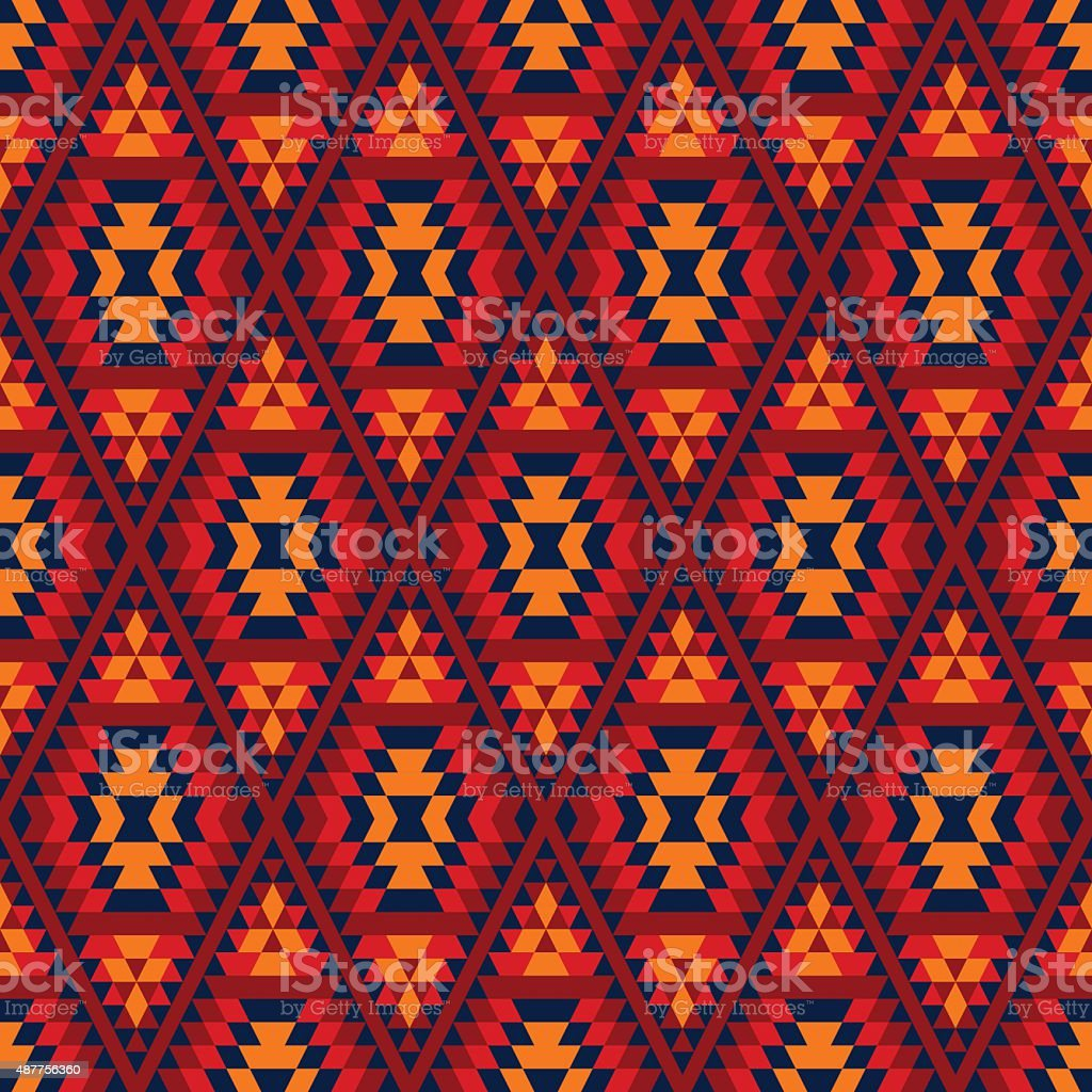 Colorful red yellow blue aztec geometric ethnic seamless pattern, vector vector art illustration