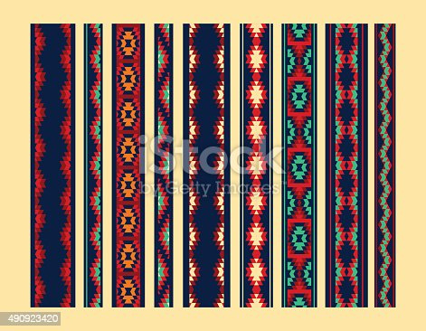 istock Colorful red yellow blue aztec ornaments geometric ethnic seamless borders 490923420