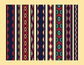 Colorful red yellow blue aztec ornaments geometric ethnic seamless border set, vector collection