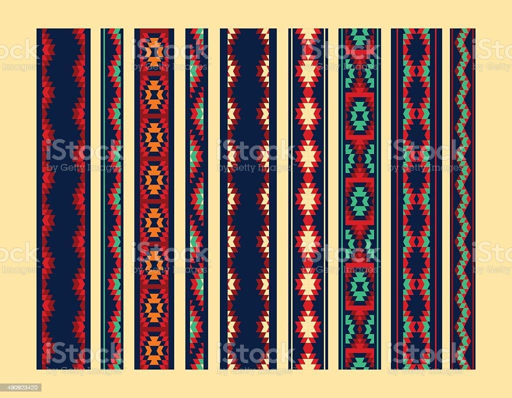 Bunt Rot Gelb und Blau aztec Ornamente, geometrische nahtlose Grenzen ethnischen – Vektorgrafik