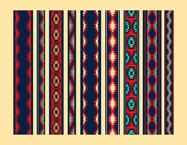 bildbanksillustrationer, clip art samt tecknat material och ikoner med colorful red yellow blue aztec ornaments geometric ethnic seamless borders - blue yellow band