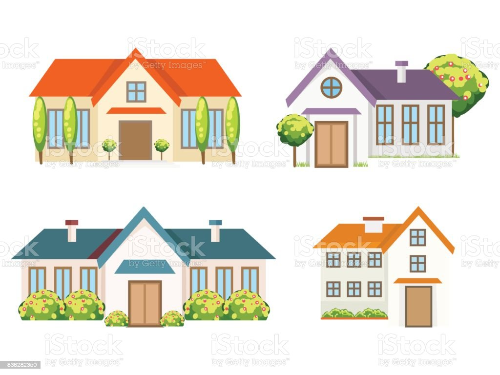 Collection de maisons colorées - Illustration vectorielle