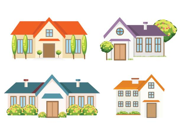 colorful residential houses collection - проживание с уходом stock illustrations