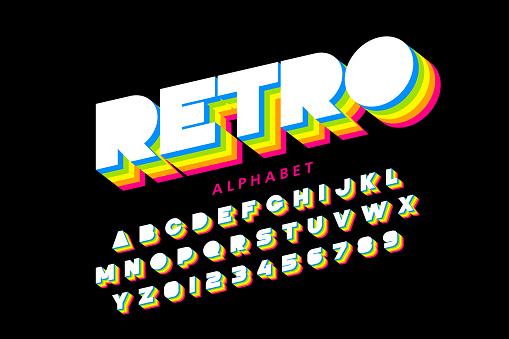 Colorful retro font