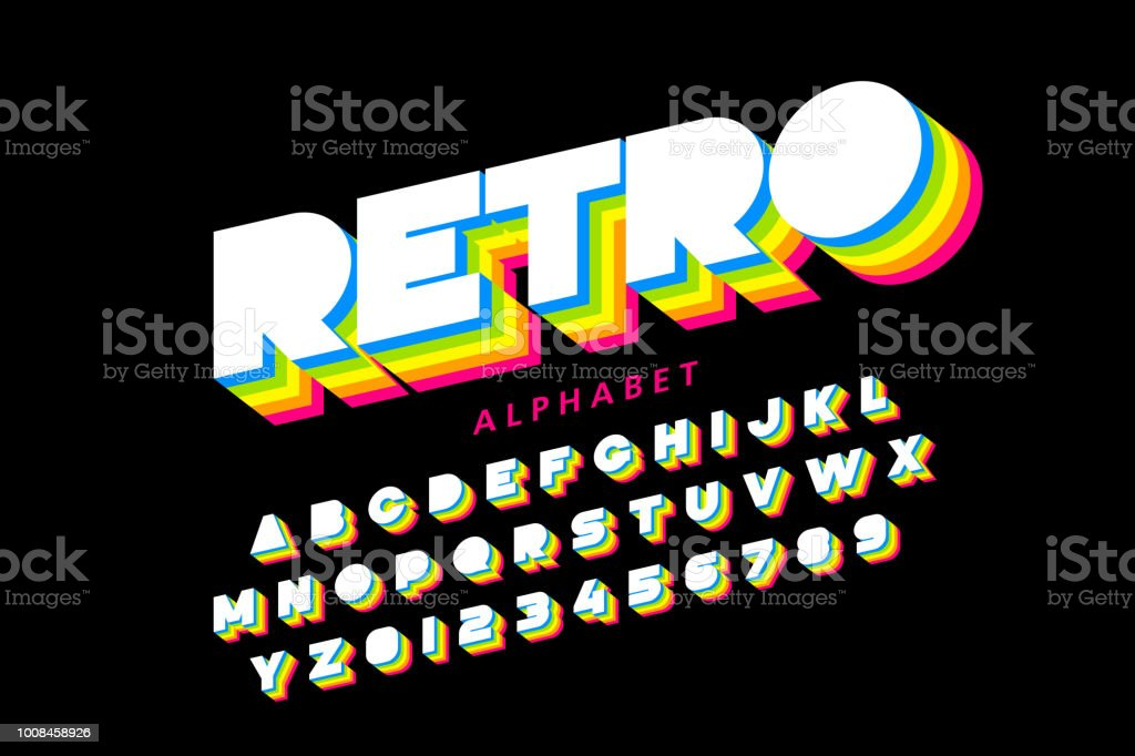 Colorful retro font vector art illustration