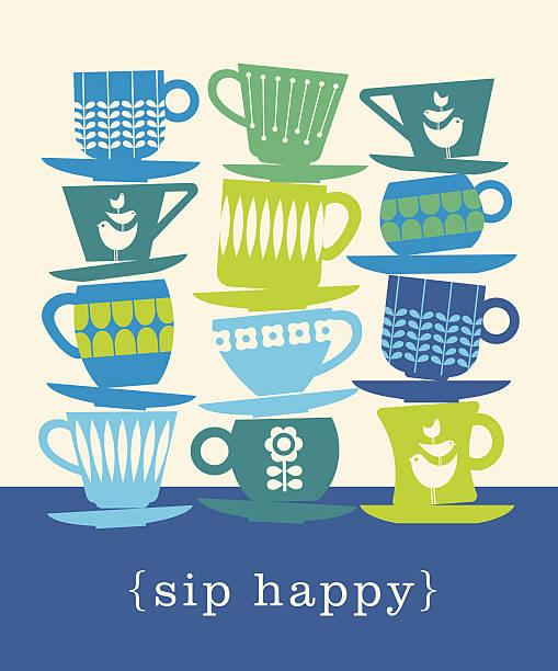 stockillustraties, clipart, cartoons en iconen met colorful retro illustration of stacks of tea cups. sip happy. - theekop