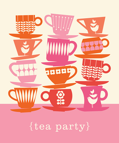 colorful retro illustration with stacks of tea cups