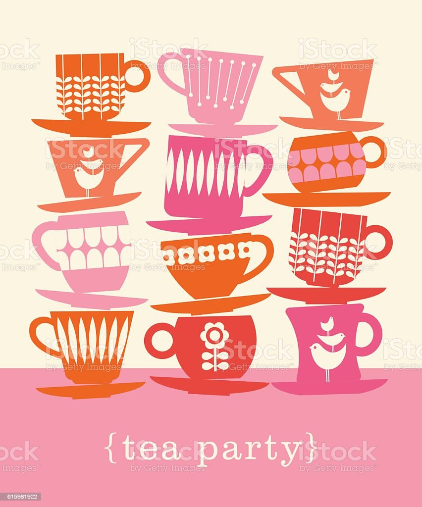colorful retro illustration with stacks of tea cups vector art illustration
