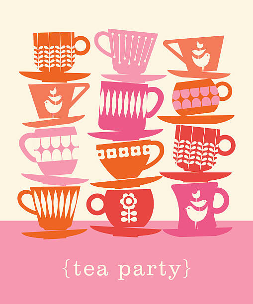 colorful retro illustration with stacks of tea cups - stacked tea cups stock illustrations, clip art, cartoons, & icons