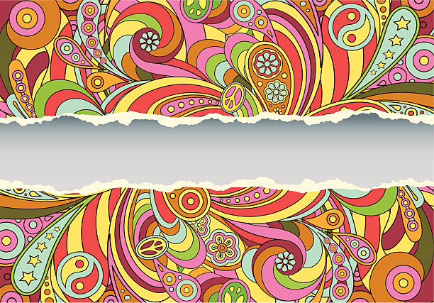 colorful retro psychedelic illustrated background - 1960s style stock illustrations, clip art, cartoons, & icons