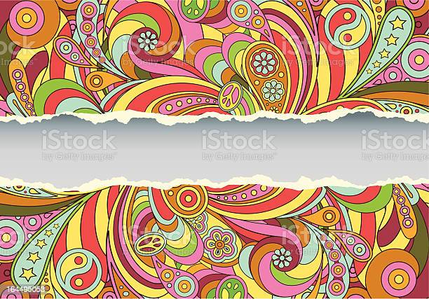 Colorful Retro Psychedelic Illustrated Background Stockvectorkunst en meer beelden van 1960-1969