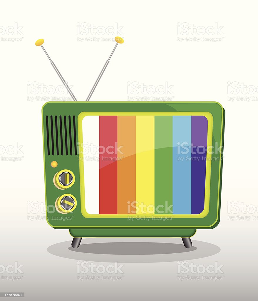 colorful retro television royalty-free stock vector art