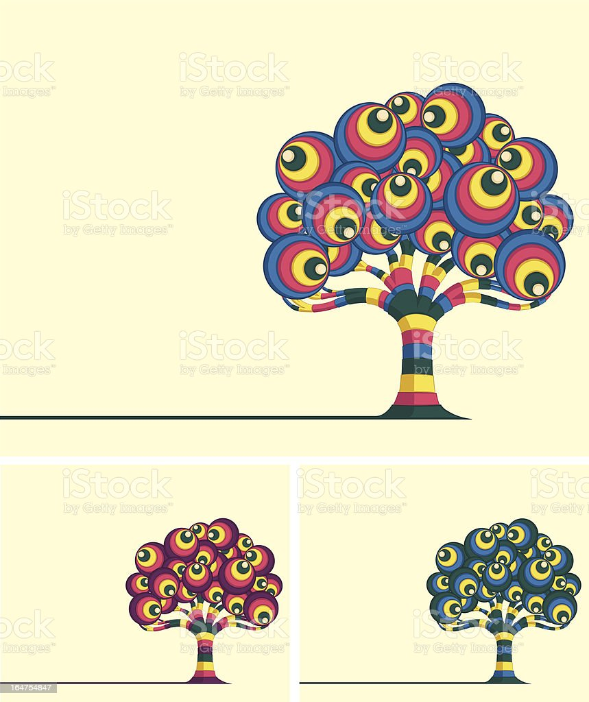 Colorful Retro Tree Vector Illustrations royalty-free stock vector art