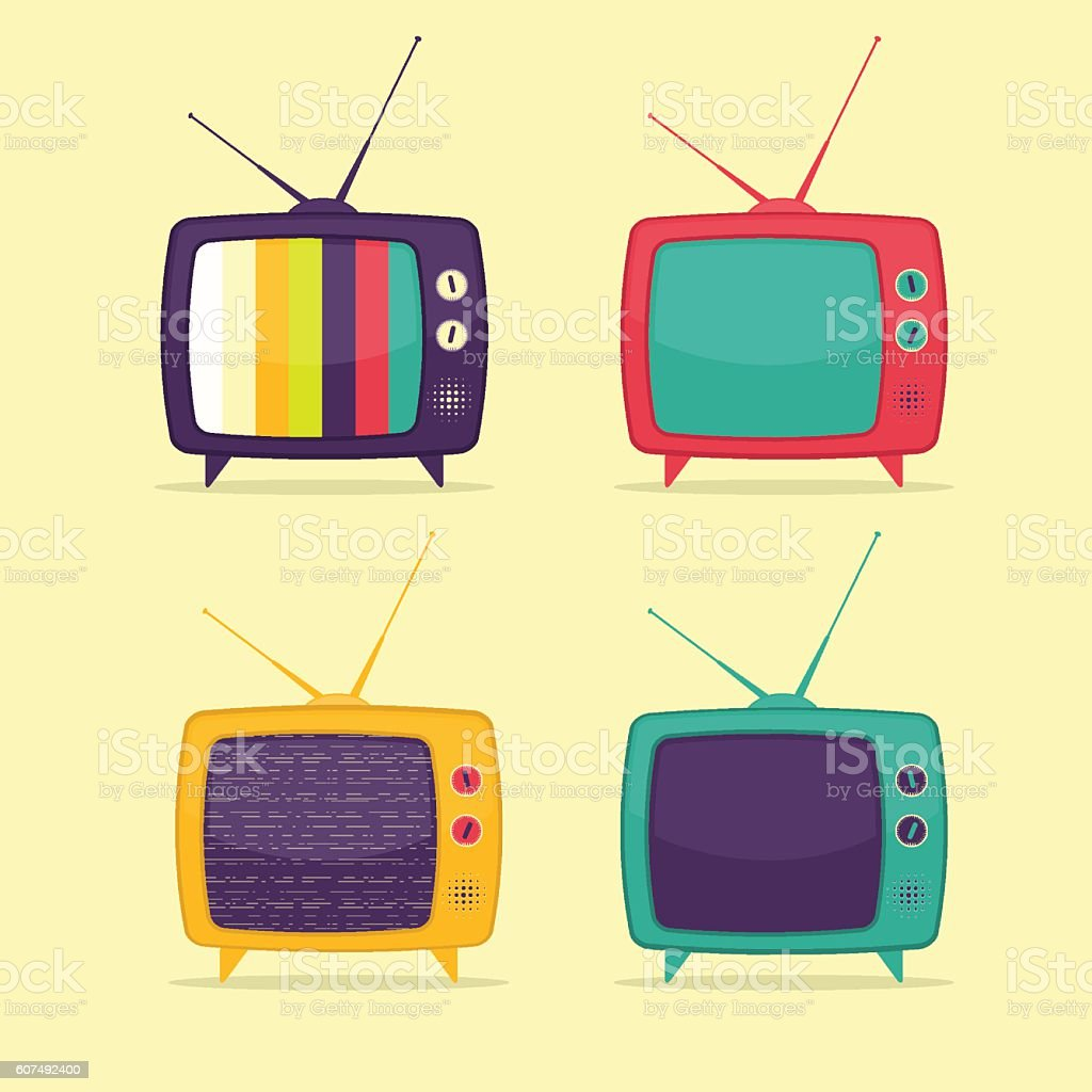 Colorful Retro TV Set vector art illustration
