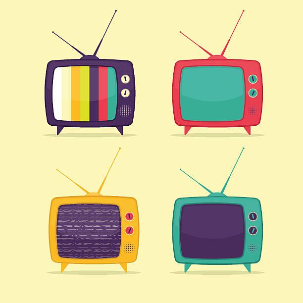 colorful retro tv set - bildschirme stock-grafiken, -clipart, -cartoons und -symbole