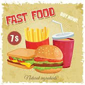 Colorful retro vintage cartoon poster of fast food vector with hamburger sandwich and french frie.