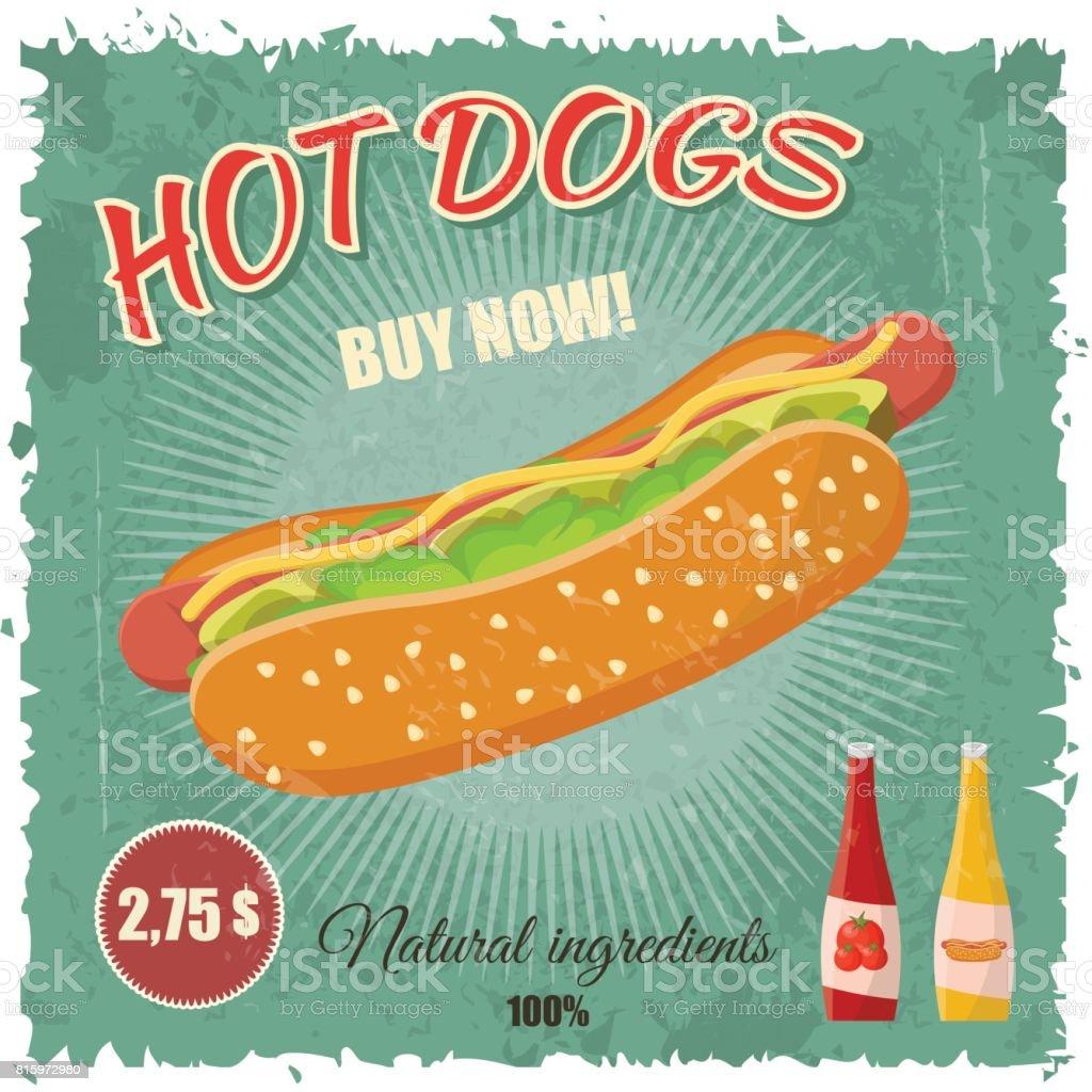 Colorful retro vintage cartoon poster of hot dog fast food menu vector vector art illustration