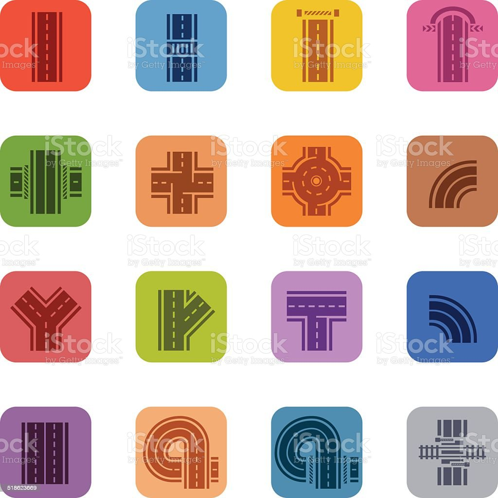 Colorful Road Icons vector art illustration