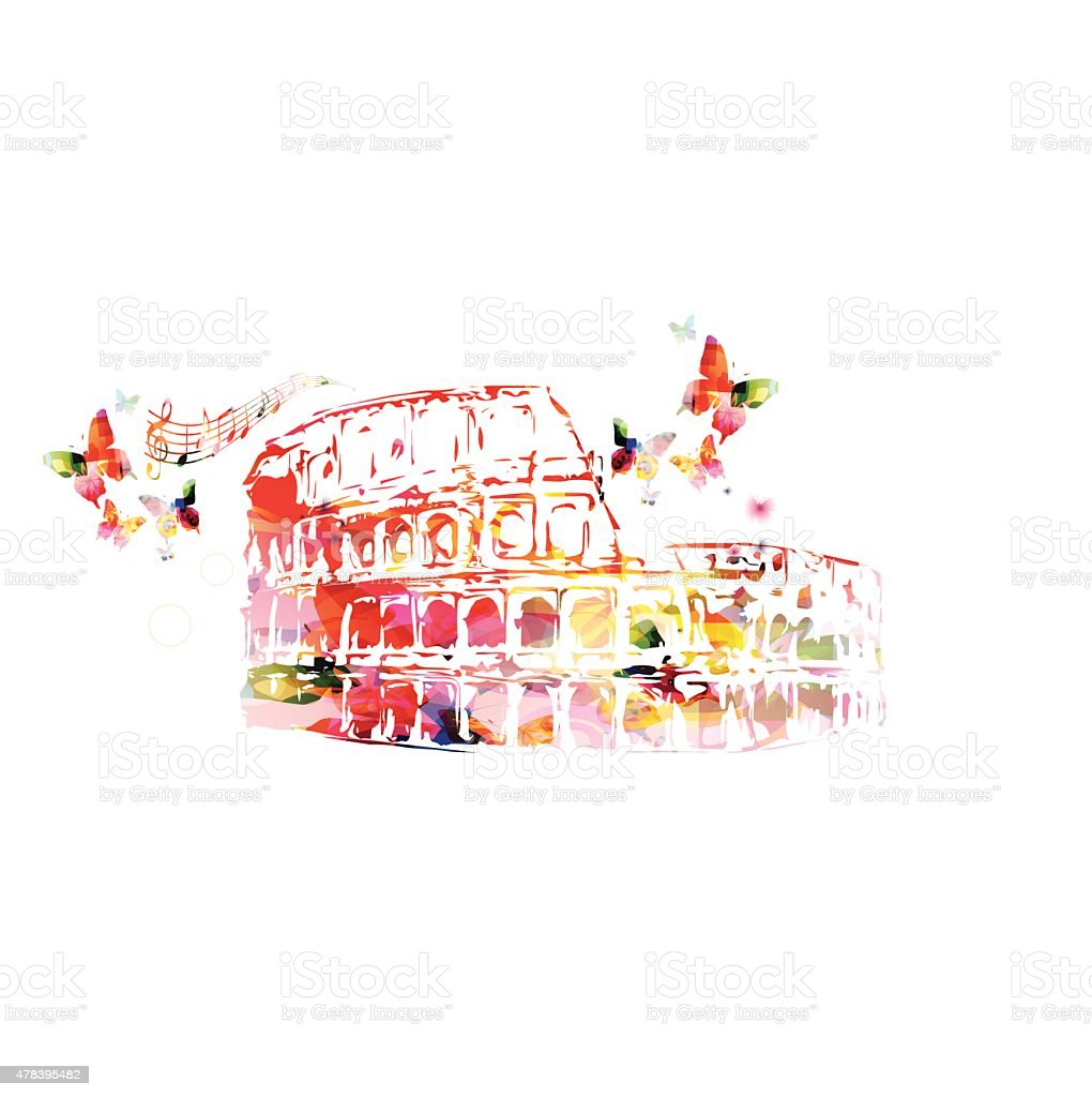 Colorful roman Colosseum background vector art illustration