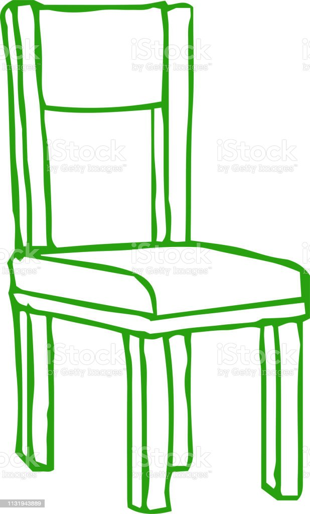 Bunte Grobskizze Aus Handgezeichnetem Stuhl Stock Vektor Art