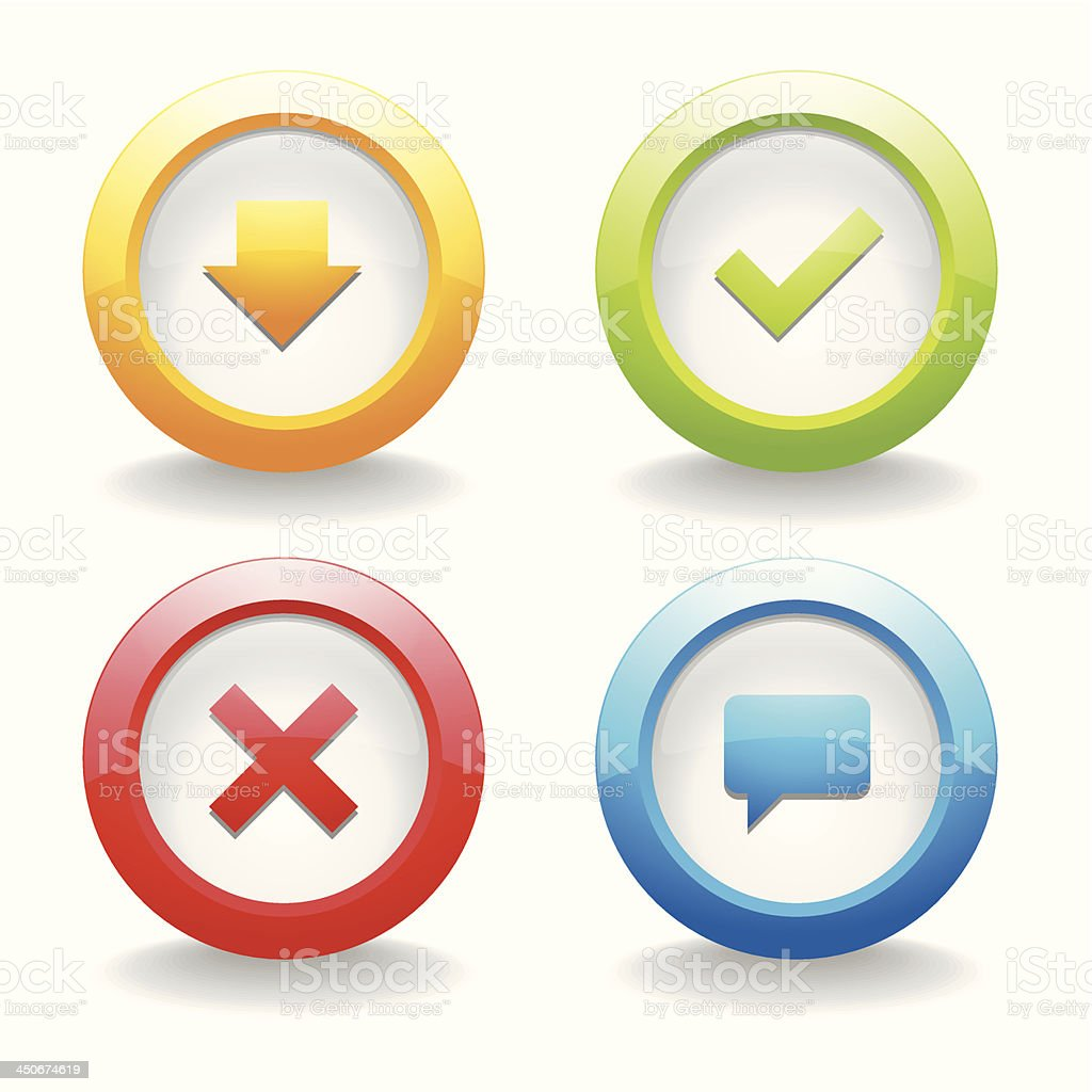 Colorful round button set royalty-free colorful round button set stock vector art & more images of advertisement