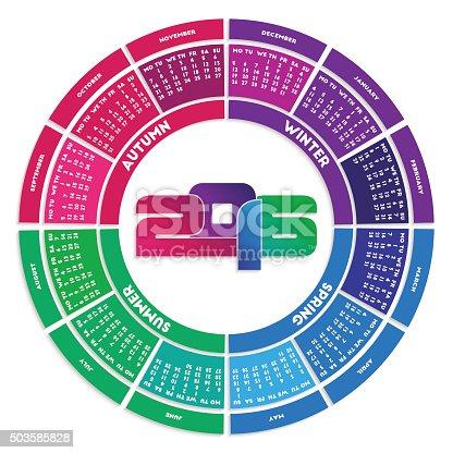 Colorful round calendar 2016