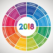 Colorful round calendar 2018 design. Week starts on Sunday