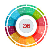 Colorful round calendar 2019 design, Print Template, Your symbol and Text. Week Starts Sunday. Portrait Orientation. 2019 Calendar of 12 Months