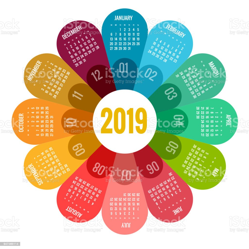 colorful round calendar 2019 design print template your symbol and