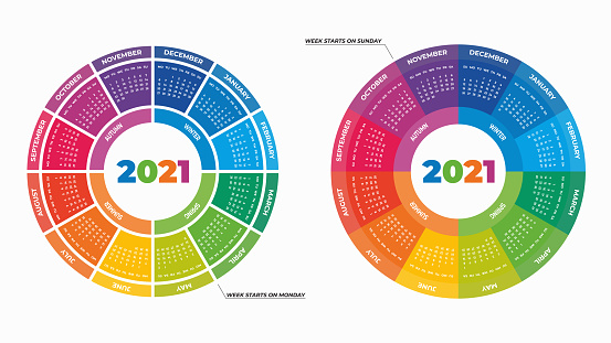 Colorful round calendars 2021