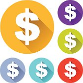 Colorful round icons with dollar sign