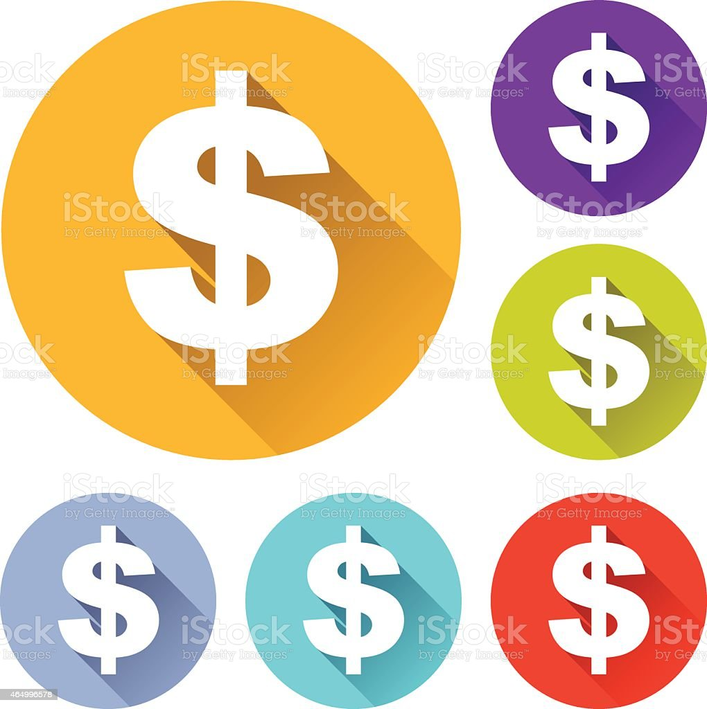 Colorful round icons with dollar sign vector art illustration