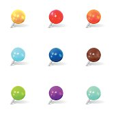 Colorful Round Thumbtack Set With Shadows