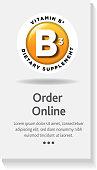 istock Colorful round Vitamin B3 horizontal banner design template 1253563827