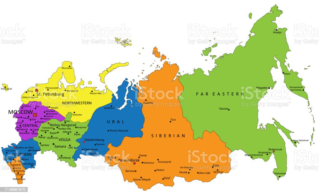 Colorful Russia Political Map With Clearly Labeled Separated ...