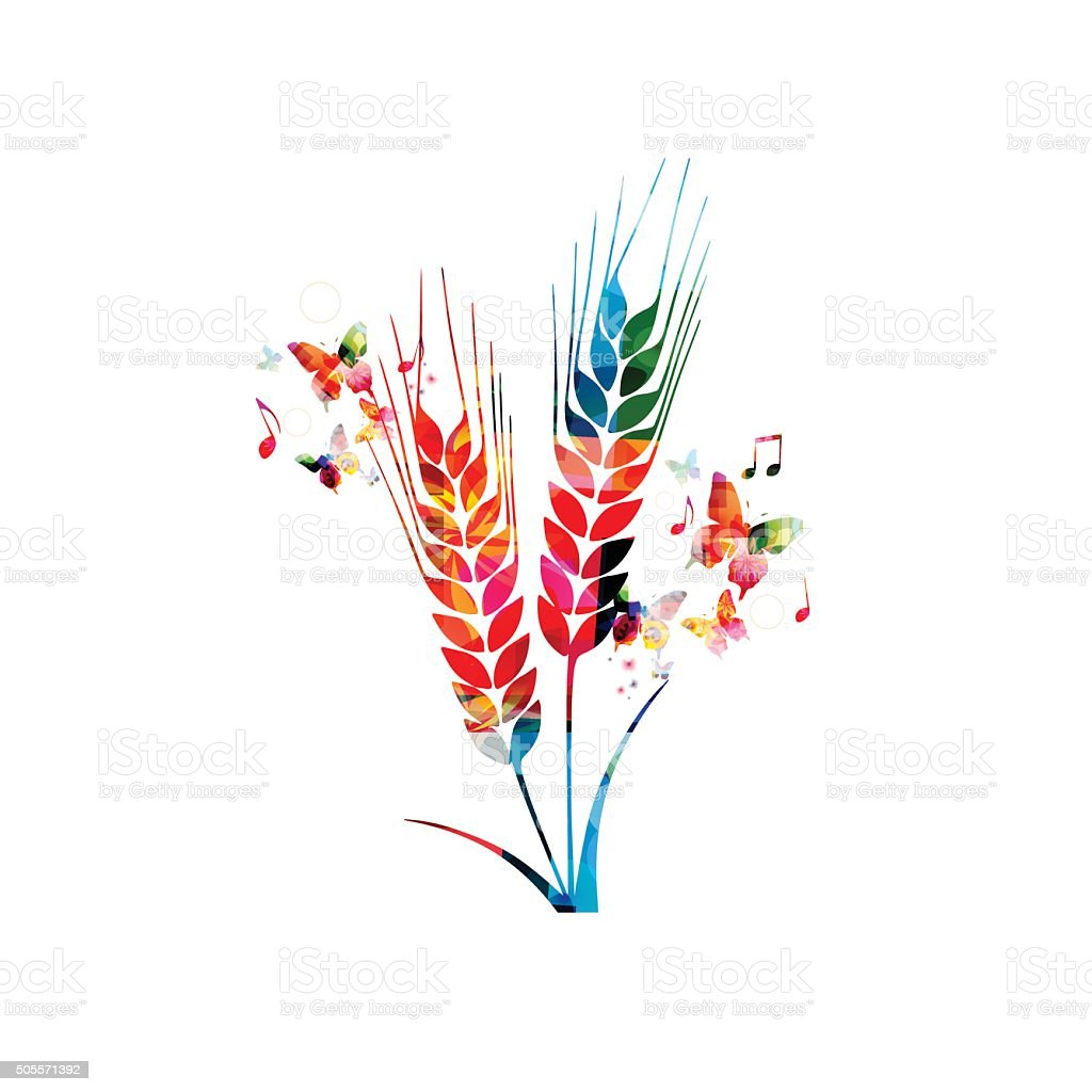 Colorful rye with butterflies vector art illustration